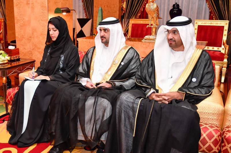 Reem bint Ibrahim Al Hashemy, Minister of State for International Cooperation; xxx; and Dr. Sultan bin Ahmad Sultan Al Jaber, Minister of State; during the visit of Prime Minister of Pakistan Imran Khan and his accompanying delegation at Zaabel Palace on November 18, 2018. Dubai Media Office / Wam