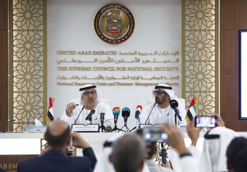 Abu Dhabi, United Arab Emirates- Abdulrahman Al Owais, Minister of Health with Hassan Ibrahim Al Hammadi, Minister of Education at the briefing on corona virus at the National Emergency Crisis and Disaster Management Authority.   Leslie Pableo for The National