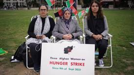 British-Afghan women go on hunger strike outside Parliament against Taliban rule