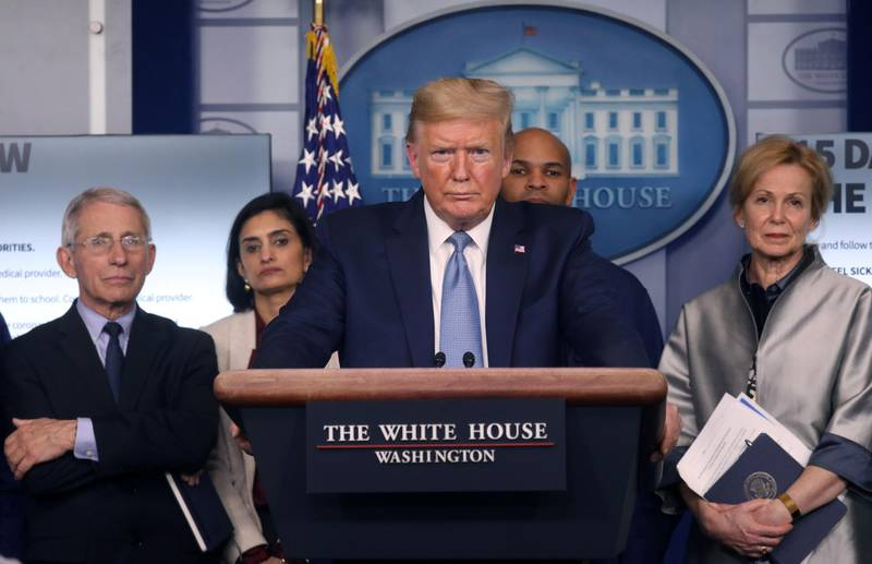 U.S. President Donald Trump holds a news briefing on the coronavirus outbreak while accompanied by members of the coronavirus (COVID-19) task force at the White House in Washington, U.S., March 16, 2020. REUTERS/Leah Millis