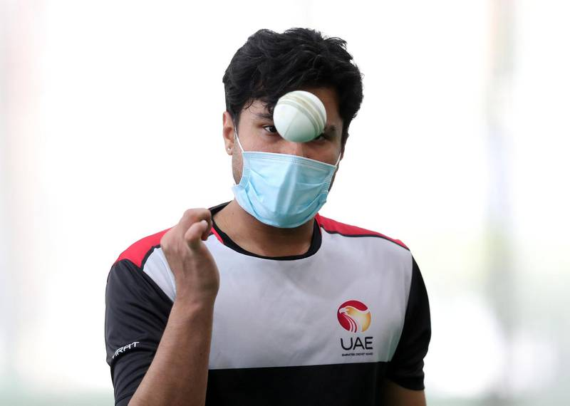 Dubai, United Arab Emirates - Reporter: Paul Radley. Sport.  Imran Haider. The UAE cricket team are back at training at the ICC academy after the government have eased restrictions due to Coivd-19/Coronavirus. Sunday, June 7th, 2020. Dubai. Chris Whiteoak / The National