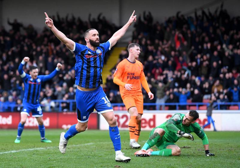 ROCHDALE, ENGLAND - JANUARY 04: Aaron Wilbraham of Rochdale celebrates after scoring his team's first goal during the FA Cup Third Round match between Rochdale AFC and Newcastle United at Spotland Stadium on January 04, 2020 in Rochdale, England. (Photo by Laurence Griffiths/Getty Images)