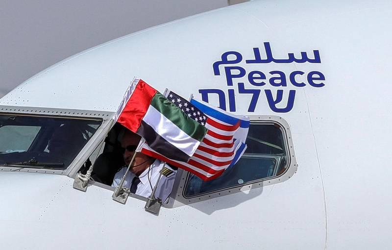 Abu Dhabi, United Arab Emirates, August 31, 2020.  The Israeli flag carrier El Al's airliner lands at Abu Dhabi International Airport.  Victor Besa / The NationalSection:  NA/Stock ImagesReporter:  Khaled Owais