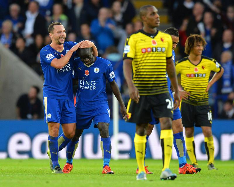 LEICESTER, ENGLAND - NOVEMBER 07: Ngolo Kante (2nd L) of Leicester City celebrates scoring his team's first goal with his team mate Danny Drinkwater (1st L) during the Barclays Premier League match between Leicester City and Watford at The King Power Stadium on November 7, 2015 in Leicester, England.  (Photo by Tony Marshall/Getty Images)