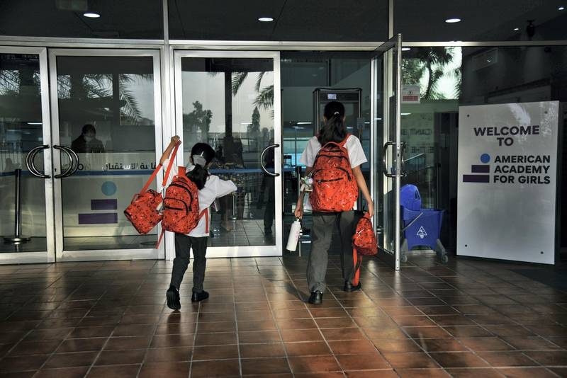 Students return to the Al-Mizhar American Academy for Girls after months government re-open schools in the wake of Covid-19 pandemic in Dubai, UAE, Sunday, Aug. 30, 2020. (Photos by Shruti Jain - The National)