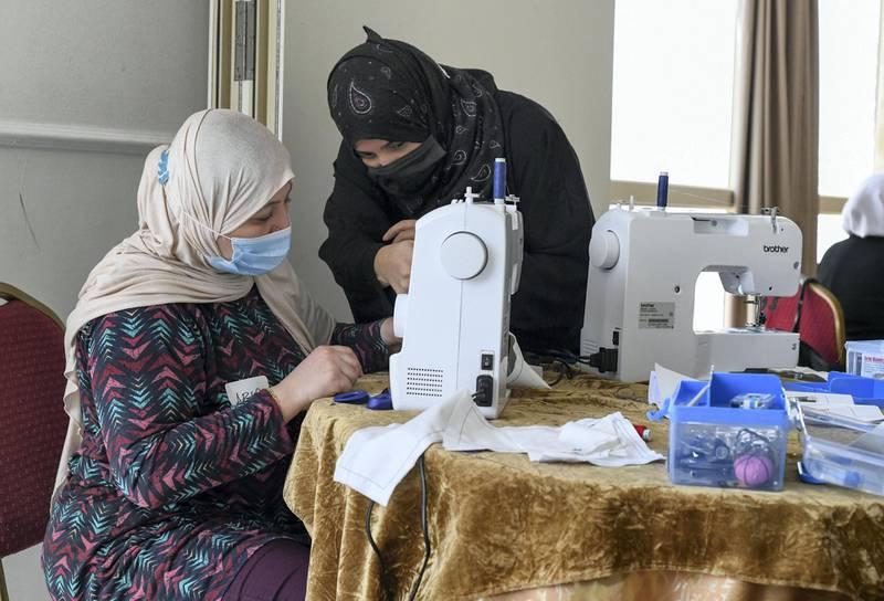 Lotus Training Centre-AD Left, Abir Mahmoud originally from Palestine, learning sewing at Lotus Holistic Retal Training Centre on June 22, 2021. Khushnum Bhandari/ The National Reporter: Haneen Dajani News