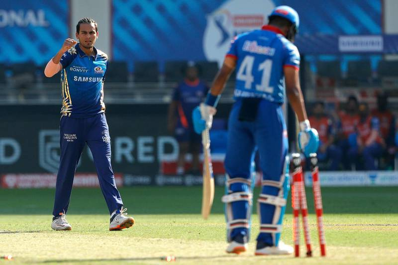 Rahul Chahar of Mumbai Indians celebrates the wicket of Shreyas Iyer captain of Delhi Capitals during match 51 of season 13 of the Dream 11 Indian Premier League (IPL) between the Delhi Capitals and the Mumbai Indians held at the Dubai International Cricket Stadium, Dubai in the United Arab Emirates on the 31st October 2020.  Photo by: Saikat Das  / Sportzpics for BCCI