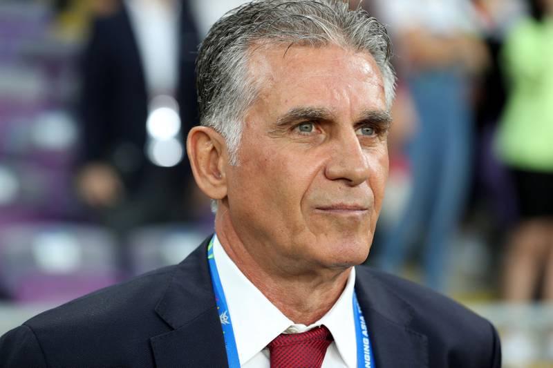 Al Ain, United Arab Emirates - January 28, 2019: Head coach of Iran Carlos Queiroz during the semi final of the Asian Cup 2019. Monday, January 28th, 2019 at Hazza Bin Zayed Stadium, Al Ain. Chris Whiteoak/The National
