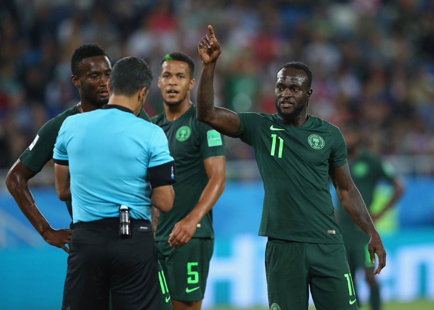 KALININGRAD, RUSSIA - JUNE 16:  Victor Moses of Nigeria argues with referee Sandro Ricci as he awards a penalty to Croatia during the 2018 FIFA World Cup Russia group D match between Croatia and Nigeria at Kaliningrad Stadium on June 16, 2018 in Kaliningrad, Russia.  (Photo by Alex Livesey/Getty Images)