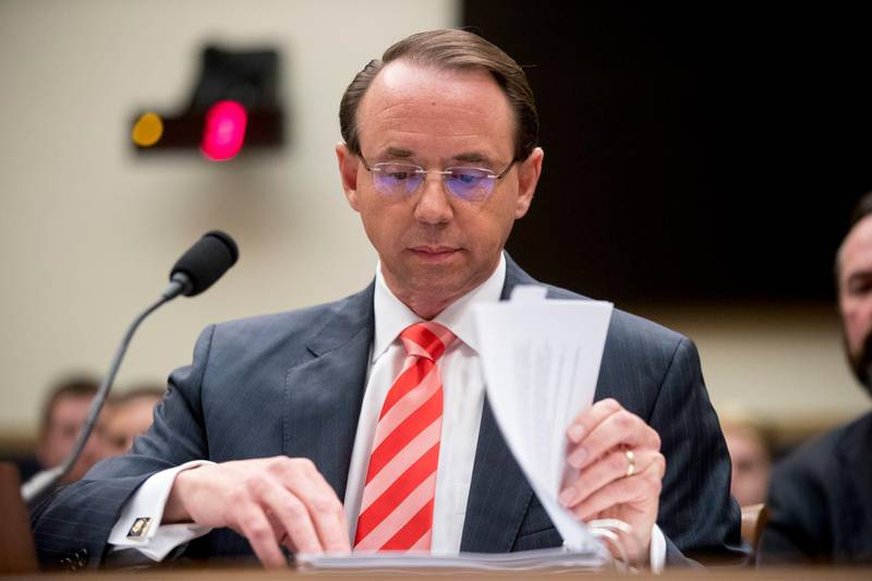 FILE - In this June 28, 2018, file photo, Deputy Attorney General Rod Rosenstein appears before a House Judiciary Committee hearing on Capitol Hill in Washington. A group of 11 House Republicans have introduced articles of impeachment against Rosenstein, who oversees special counsel Robert Mueller's investigation into Russian election interference and President Donald Trump's 2016 campaign. (AP Photo/Andrew Harnik, File)