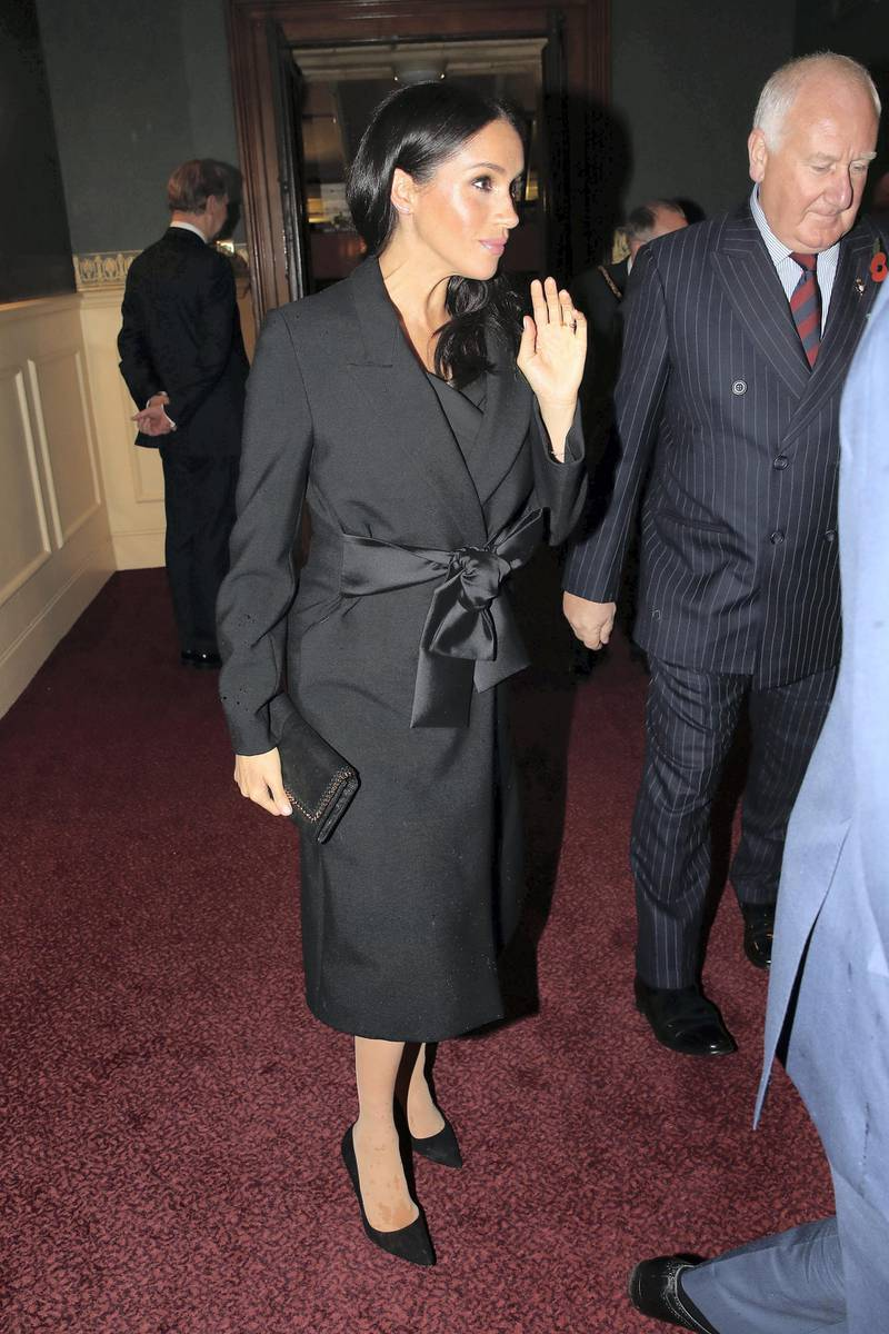 LONDON, ENGLAND - NOVEMBER 10: Meghan, Duchess of Sussex attends the Royal British Legion Festival of Remembrance at the Royal Albert Hall on November 10, 2018 in London, England. The Queen and members of the Royal Family are attending the annual Festival of Remembrance to commemorate all those who have lost their lives in conflicts and will mark 100 years since the end of the First World War.  (Photo by Chris Jackson/Getty Images)
