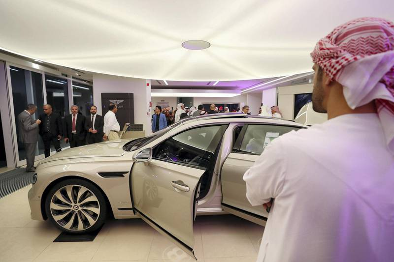 Abu Dhabi, United Arab Emirates - Reporter: Simon Wilgress-Pipe: A Bentley Flying Spur. The opening of the new Bentley Emirates showroom. Tuesday, January 21st, 2020. Abu Dhabi. Chris Whiteoak / The National