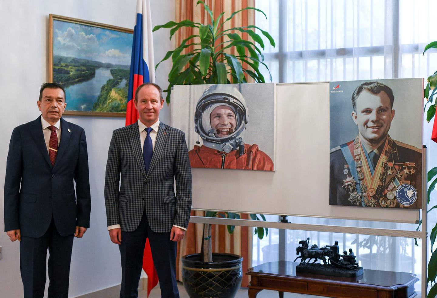 Abu Dhabi, United Arab Emirates - Yury Vidakas, Senior Counsellor & Deputy Head of Mission with Anatoly Krasnikov, Roscosmos Representative to Gulf Region at the celebration of the 60th anniversary for the first human spaceflight at the Russian Embassy. Khushnum Bhandari for The National