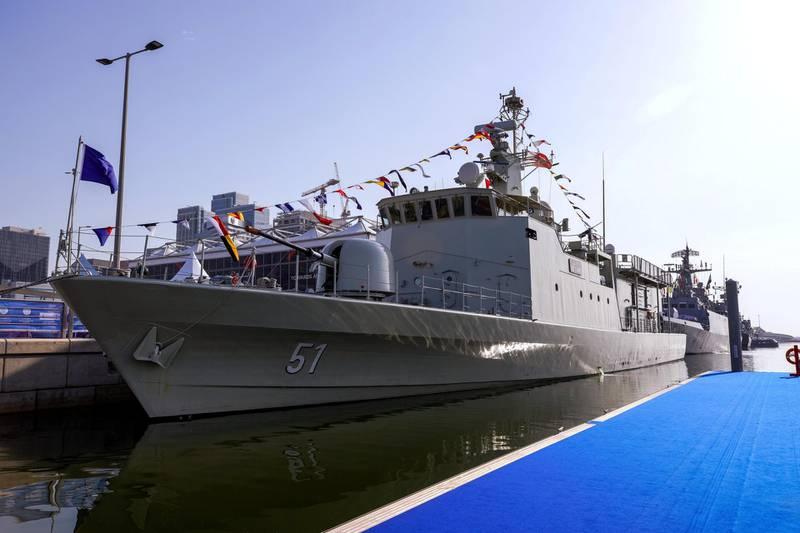 Abu Dhabi, United Arab Emirates, February 23, 2021.  Idex 2021 Day 3.  Pakistani warship,  RBNS Al Muharraq.Victor Besa / The NationalSection:  NAReporter: