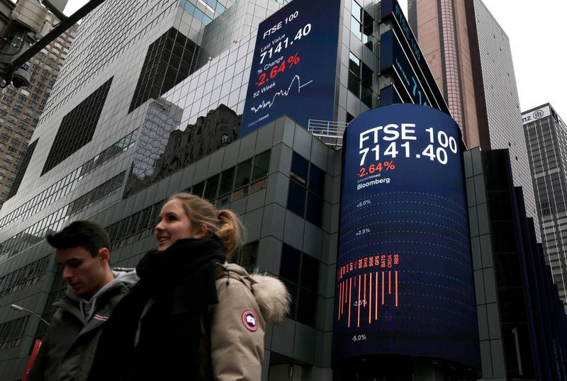 A display shows financial indices in Times Square, New York, Tuesday, Feb. 6, 2018. After big swings higher and lower, U.S. stocks are up slightly in afternoon trading Tuesday as investors look for calm after a global sell-off. The swings came one day after the steepest drop in 6 ½ years. (AP Photo/Seth Wenig)