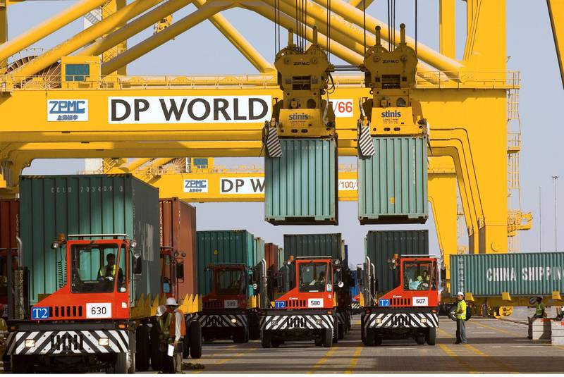 Containers owned by China Shipping Container Lines Co. Ltd. are offloaded at Jebel Ali Port, in Dubai, United Arab Emirates, on Wednesday, Dec. 26, 2007. Jebel Ali Port, owned by DP World Ltd., the fourth-biggest port operator, is the largest in the Middle East. China Shipping Container Lines Co. Ltd., the second-largest in Asia, owns and operates container vessels for the international and domestic container marine transportation services. Photographer: Charles Crowell/Bloomberg News