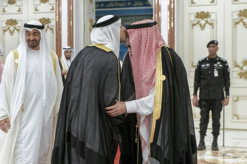 MECCA, SAUDI ARABIA - May 30, 2019: HH Sheikh Mohamed bin Zayed Al Nahyan, Crown Prince of Abu Dhabi and Deputy Supreme Commander of the UAE Armed Forces (), heads the UAE delegation to the Gulf Cooperation Council (GCC) emergency summit in Mecca.  ( Rashed Al Mansoori / Ministry of Presidential Affairs ) ---