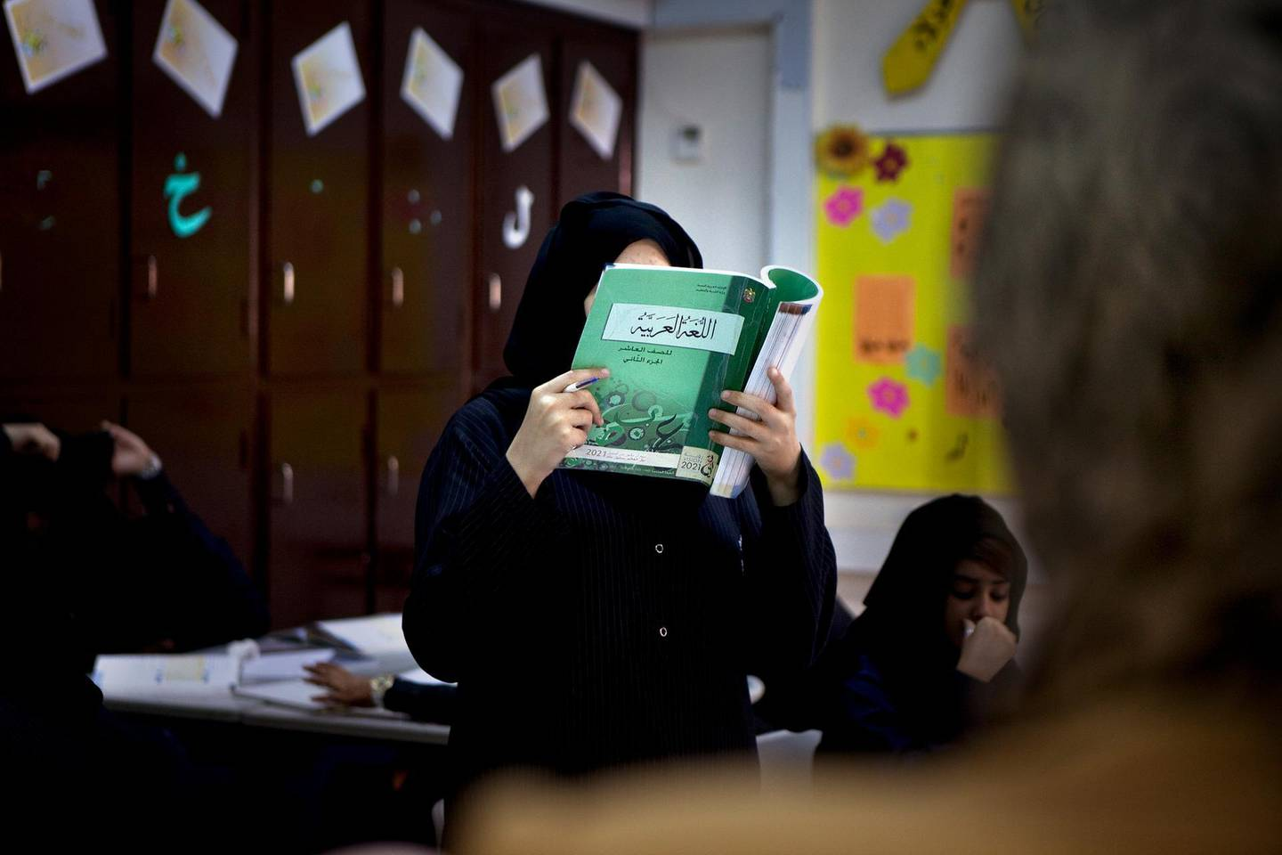 A young Emirati student reads out loud during an Arabic lesson on Thursday morning, April 28, 2011, at the Butti Public School in Bani Yas. (Silvia R‡zgov‡ / The National)