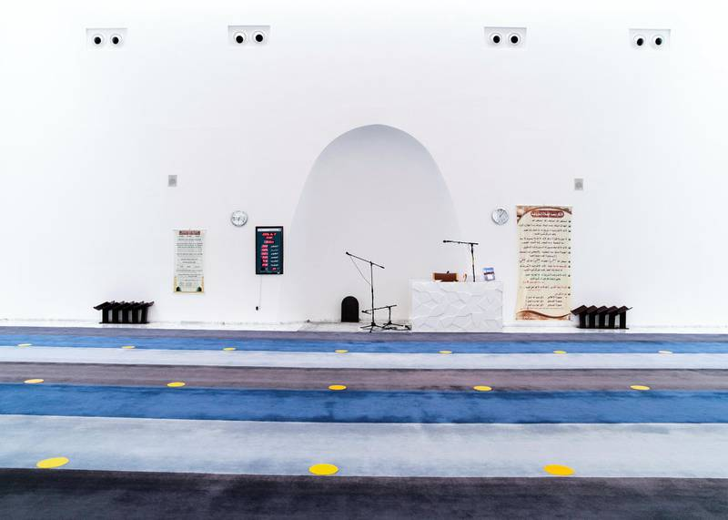 DUBAI, UNITED ARAB EMIRATES. 9 JUNE 2020. The mosques have not yet opened for the public, but masjids like Al Warqaa Mosque has started preparing for social distancing. (Photo: Reem Mohammed/The National)Reporter:Section: