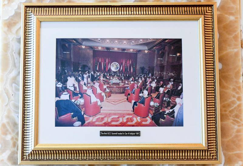 40 Year Anniversary of GCC Summit-AD  Old images displayed in the main lobby of the GCC Summit in 1981 at the InterContinental Hotel in Abu Dhabi on May 20, 2021. Khushnum Bhandari / The National  Reporter: Kelly Clarke News