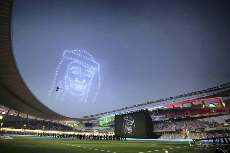 Drones light up the sky with the face of Sheikh Mohammed bin Zayed before the game between Shabab Al Ahli and Al Nasr in the PresidentÕs Cup final in Al Ain on May 16th, 2021. Chris Whiteoak / The National.  Reporter: John McAuley for Sport