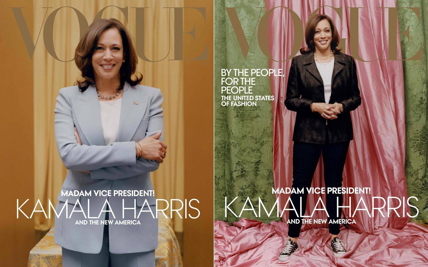 """(COMBO) This combination of pictures created on January 12, 2021 shows two handout photo obtained on January 12, 2021 courtesy of Vogue, of US Vice President-elect Kamala Harris in a Michael Kors Collection suit on the February 2021 cover of Vogue magazine(L) and against colors inspired by those of her Howard university sorority, Alpha Kappa Alpha, Vice President–elect Kamala Harris(R) as she wears a Donald Deal jacket and Converse sneakers on the February 2021 cover of Vogue magazine.  A Vogue cover photo of Vice-President-elect Kamala Harris dressed casually has sparked controversy with critics saying it diminishes her achievements, forcing editor Anna Wintour to defend the image on January 12, 2021. Criticism of the cover has spread on social media since it was released on January 10, 2021, with users insisting the portrait of Harris wearing sneakers is disrespectful to the first Black woman to be elected vice president.  A Vogue cover photo of Vice-President-elect Kamala Harris dressed casually has sparked controversy with critics saying it diminishes her achievements, forcing editor Anna Wintour to defend the image on January 12, 2021. Criticism of the cover has spread on social media since it was released on January 10, 2021, with users insisting the portrait of Harris wearing sneakers is disrespectful to the first Black woman to be elected vice president.   - RESTRICTED TO EDITORIAL USE - MANDATORY CREDIT """"AFP PHOTO /VOGUE/TYLER MITCHELL/VOGUE.COM/AMERICANVOGUE.COM/HANDOUT - NO MARKETING NO ADVERTISING CAMPAIGNS - DISTRIBUTED AS A SERVICE TO CLIENTS --- NO ARCHIVE ---  RESTRICTED TO EDITORIAL USE - MANDATORY CREDIT """"AFP PHOTO /VOGUE/TYLER MITCHELL/VOGUE.COM/AMERICANVOGUE.COM/HANDOUT - NO MARKETING NO ADVERTISING CAMPAIGNS - DISTRIBUTED AS A SERVICE TO CLIENTS --- NO ARCHIVE ---   / AFP / Vogue / Tyler MITCHELL / RESTRICTED TO EDITORIAL USE - MANDATORY CREDIT """"AFP PHOTO /VOGUE/TYLER MITCHELL/VOGUE.COM/AMERICANVOGUE.COM/HANDOUT - NO MARKETING NO ADVERTISING CAM"""