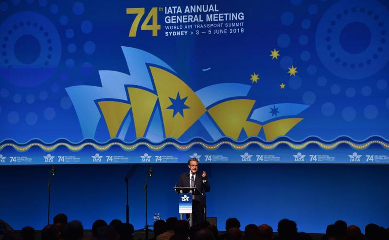 International Air Transport Association (IATA) chief executive Alexandre de Juniac speaks at the opening of the annual meeting of global airlines in Sydney on June 4, 2018. The spectre of trade wars and protectionism are key risk factors to airline profits already weakened by rising oil prices, the International Air Transport Association said. / AFP / PETER PARKS