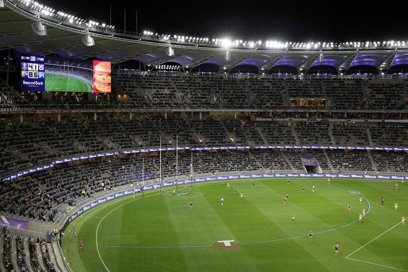 PERTH, AUSTRALIA - JULY 19: A general view of play is seen during the round 7 AFL match between the Fremantle Dockers and the West Coast Eagles at Optus Stadium on July 19, 2020 in Perth, Australia. (Photo by Paul Kane/Getty Images)