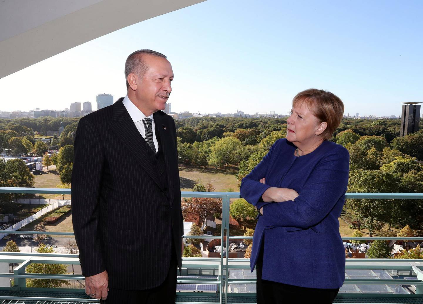 Turkish President Tayyip Erdogan meets with German Chancellor Angela Merkel in Berlin, Germany, September 29, 2018. Cem Oksuz/Presidential Press Office/Handout via REUTERS ATTENTION EDITORS - THIS PICTURE WAS PROVIDED BY A THIRD PARTY. NO RESALES. NO ARCHIVE.