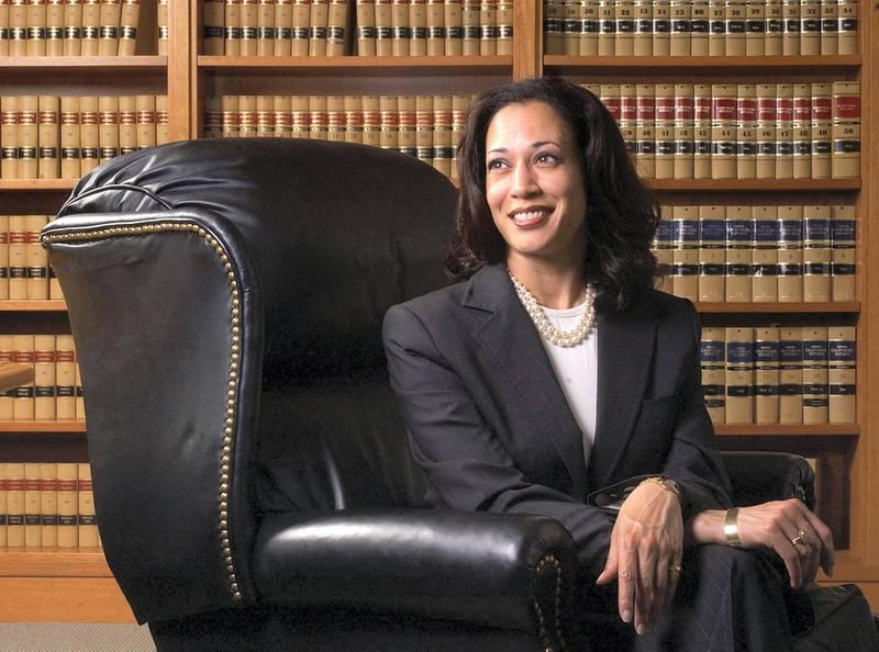 FILE - In this June 18, 2004, file photo San Francisco District Attorney Kamala Harris poses for a portrait in San Francisco. (AP Photo/Marcio Jose Sanchez, File)