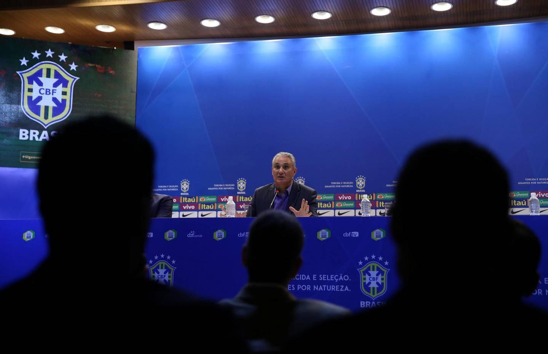Brazilian national team head coach Tite attends a news conference in Rio de Janeiro, Brazil, March 12, 2018. REUTERS/Pilar Olivares