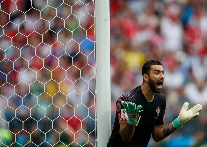 Portugal goalkeeper Rui Patricio during the group B match between Portugal and Morocco at the 2018 soccer World Cup in the Luzhniki Stadium in Moscow, Russia, Wednesday, June 20, 2018. (AP Photo/Francisco Seco)
