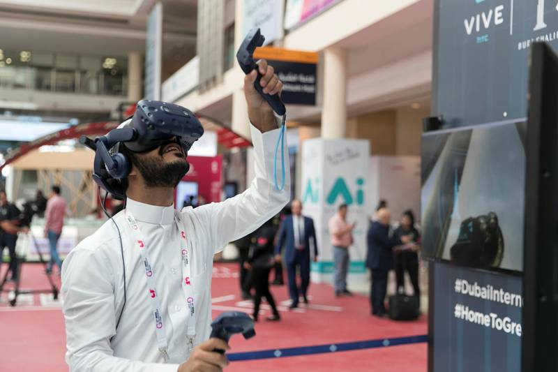 DUBAI, UNITED ARAB EMIRATES - OCTOBER 14, 2018.   A man tests a VR game at Gitex Technology Week.  (Photo by Reem Mohammed/The National)  Reporter:  Section:  NA