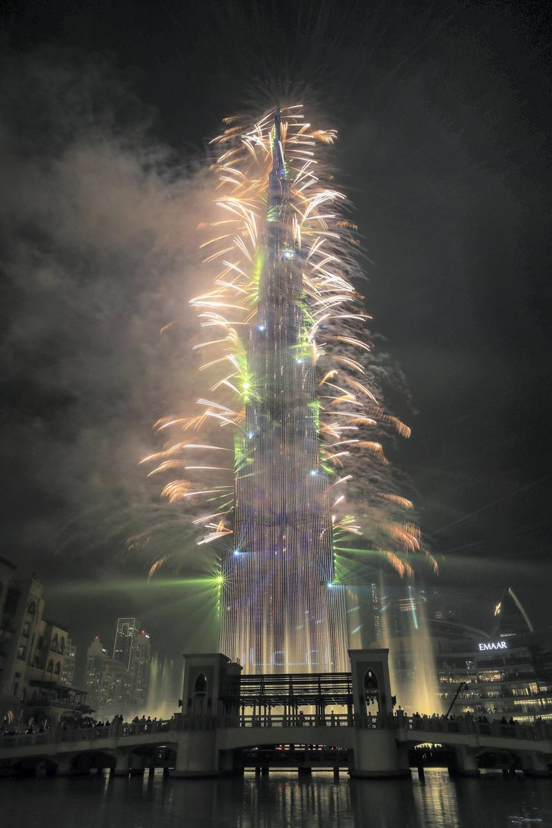 Dubai, U.A.E. .   December 31, 2018.   New Years' Eve celebrations of fireworks and light show at The Burj Khalifa and Downtown Dubai area.Victor Besa / The NationalSection:  NAReporter: