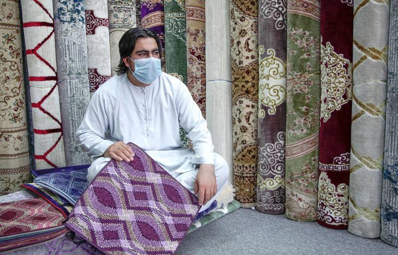 Abu Dhabi, United Arab Emirates, April 18, 2020.  The Carpet Souk at the Zayed Port area.  Lalujan, a carpet salesman is looking forward to Ramadan carpet sales.   The Coronavirus epidemic has greatly impacted their business.Victor Besa / The NationalSection:  NAFor:  Standalone/Stock Images