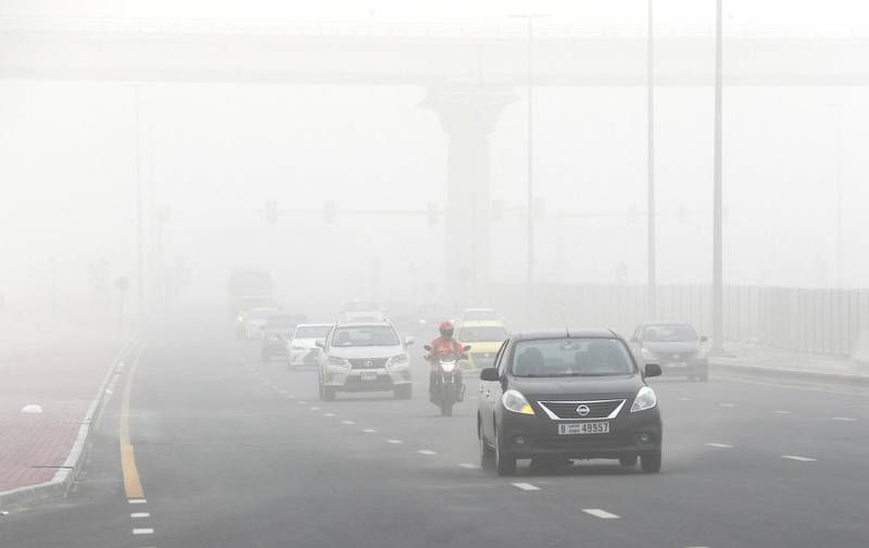DUBAI, UNITED ARAB EMIRATES , July 21 – 2020 :- Traffic during the sandstorm in Discovery Gardens area in Dubai.  (Pawan Singh / The National) For News/Standalone/Online/Stock
