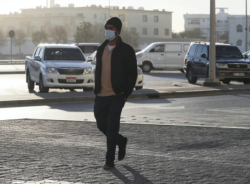 Abu Dhabi, United Arab Emirates, January 10, 2021.  Abu Dhabi residents on their way to work on a cold Sunday morning at Khalifa City.Victor Besa/The NationalSection:  NA/WeatherReporter: