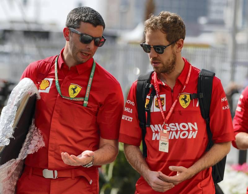 Abu Dhabi, United Arab Emirates, December 1, 2019.  Formula 1 Etihad Airways Abu Dhabi Grand Prix.--  VIP and drivers arrive at the Yas Marina Circuit.  Sebastian Vettel (Ferrari) arrives at the track.Victor Besa / The NationalSection:  SPReporter:  Simon Wilgress-Pipe