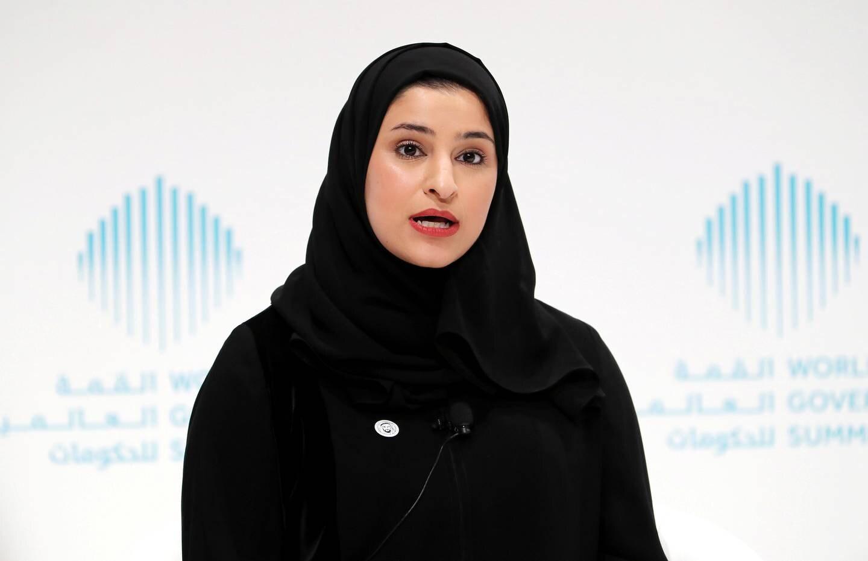 DUBAI , UNITED ARAB EMIRATES , JAN 17 – 2018 :- Sarah Bint Yousif Al Amiri speaking during the World Government Summit press conference held at Jumeirah Mina A'Salam hotel in Dubai.  (Pawan Singh / The National) For News. Story by Caline Malek