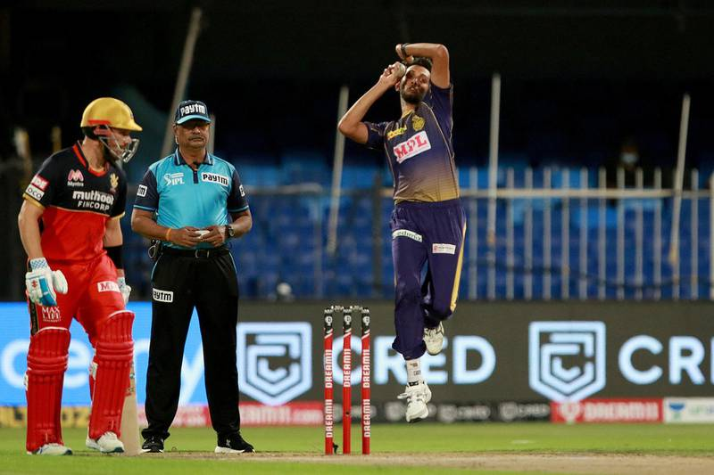 Prasidh Krishna of Kolkata Knight Riders   bowls during match 28 of season 13 of the Indian Premier League (IPL ) between the Royal Challengers Bangalore and the Kolkata Knight Riders held at the Sharjah Cricket Stadium, Sharjah in the United Arab Emirates on the 12th October 2020.  Photo by: Rahul Gulati  / Sportzpics for BCCI