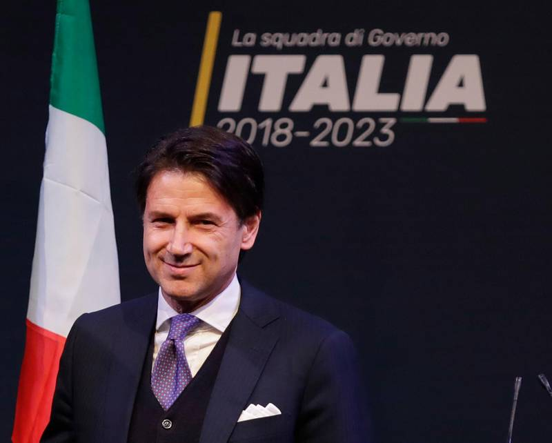 In this photo taken on Thursday, March 1, 2018, Giuseppe Conte attends a meeting in Rome. Italian media describe Conte as most likely to be the choice of Italy's main populist leaders to head the coalition government they hope to form.  (AP Photo/Alessandra Tarantino)
