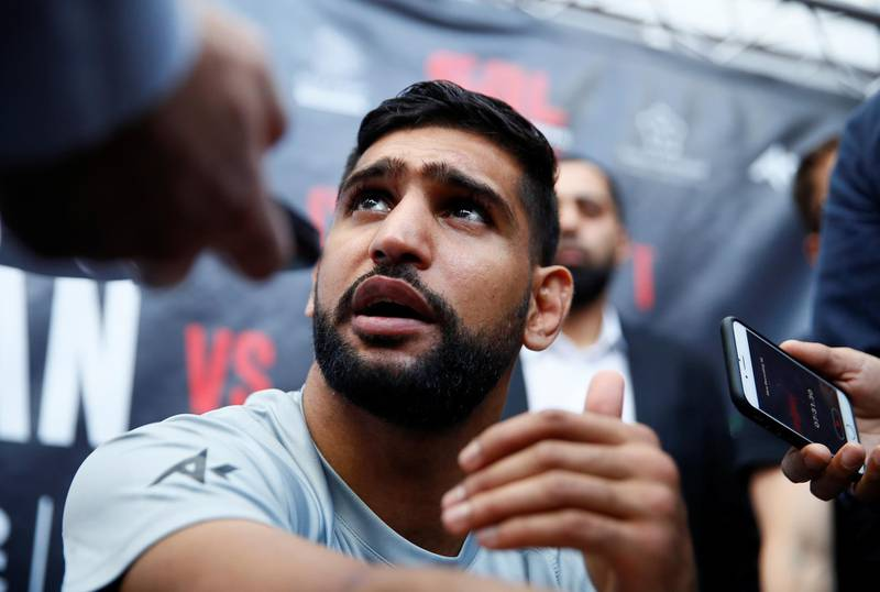 Boxing - Amir Khan Media Work-Out - Total Fitness Bolton, Bolton, Britain - June 19, 2019   Amir Khan talks to the media during the work-out   Action Images via Reuters/Jason Cairnduff