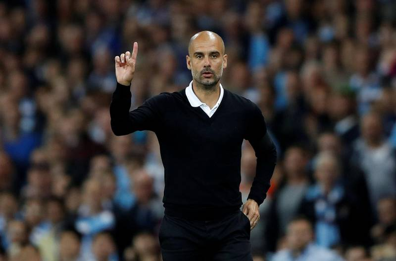 """Football Soccer - Premier League - Manchester City vs Everton - Manchester, Britain - August 21, 2017   Manchester City manager Pep Guardiola      Action Images via Reuters/Carl Recine    EDITORIAL USE ONLY. No use with unauthorized audio, video, data, fixture lists, club/league logos or """"live"""" services. Online in-match use limited to 45 images, no video emulation. No use in betting, games or single club/league/player publications. Please contact your account representative for further details."""