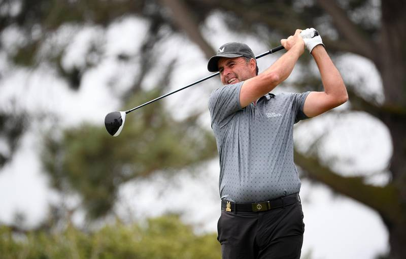 Jun 18, 2021; San Diego, California, USA; Richard Bland plays his shot from the sixth tee during the second round of the U.S. Open golf tournament at Torrey Pines Golf Course. Mandatory Credit: Orlando Ramirez-USA TODAY Sports