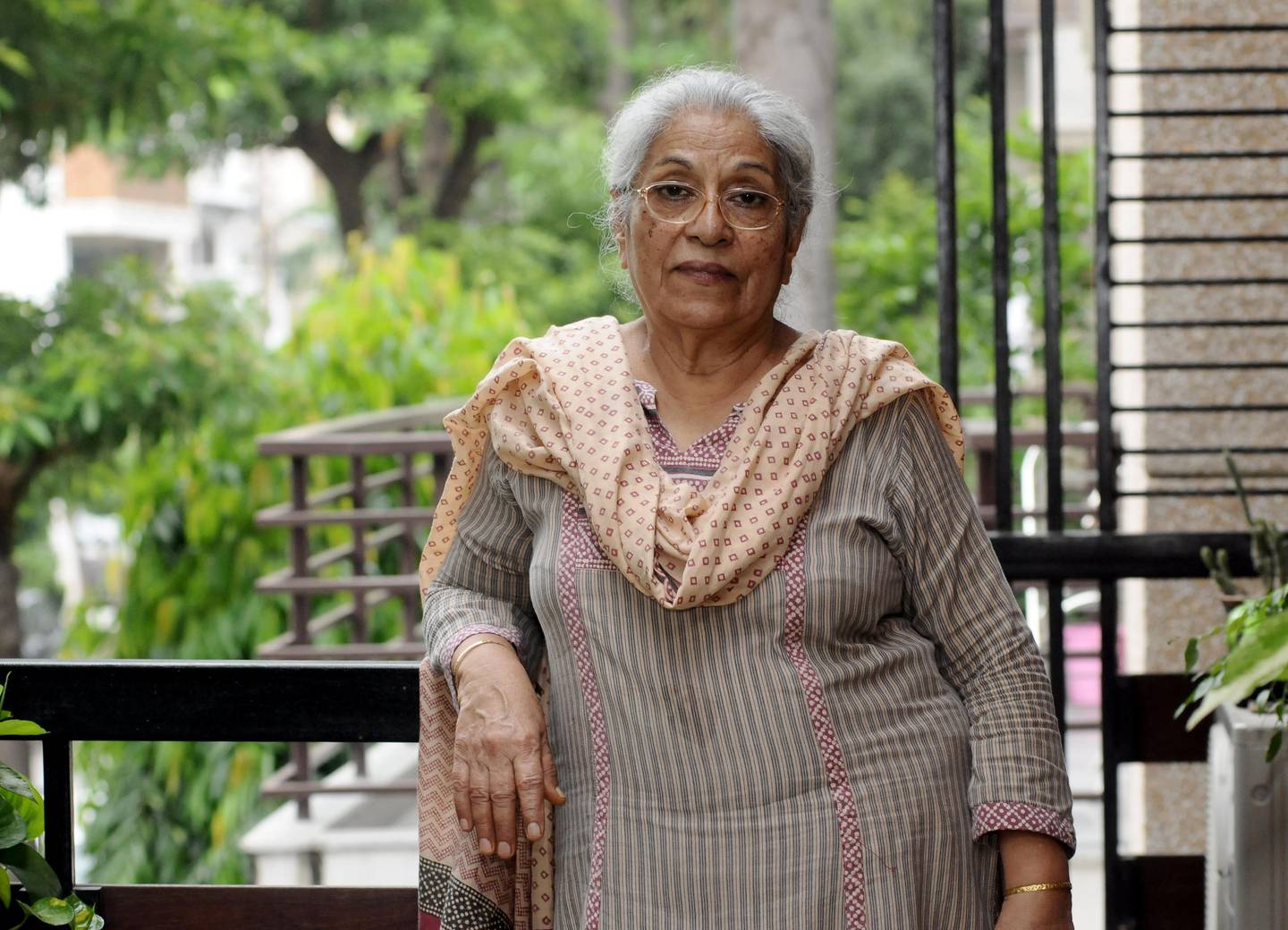 Shashi Talwar poses at her house in New Delhi, India, Wednesday, August 9, 2017.