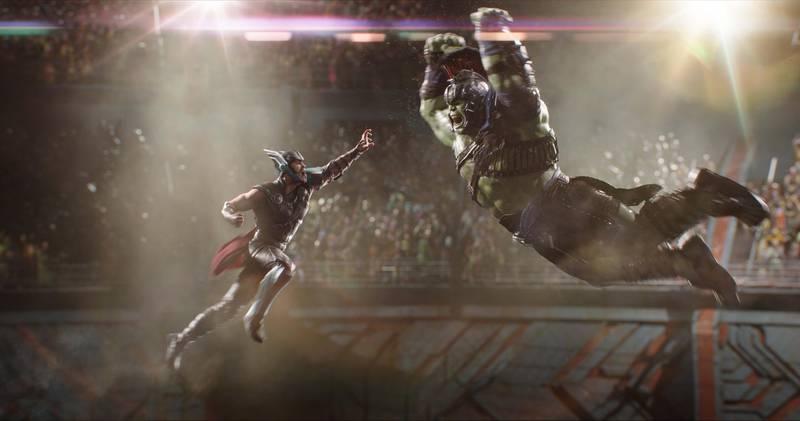 Marvel Studios Thor: RagnarokL to R: Thor (Chris Hemsworth) and Hulk (Mark Ruffalo)Photo: Film Frame©Marvel Studios 2017