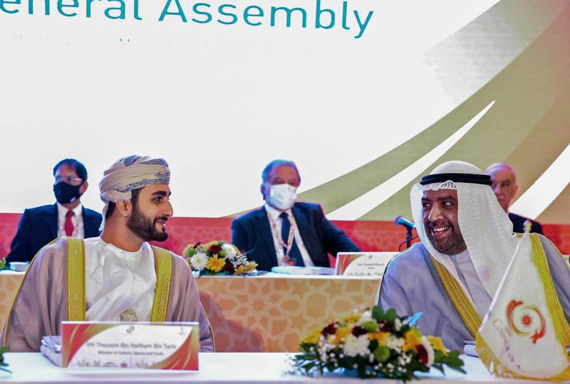 Omani Minister of Culture, Sports and Youth Sayyid Theyazin bin Haitham al-Said (L) and President of Olympic Council of Asia Sheikh Ahmed Al-Fahad al-Jaber al-Sabah attend the 39th Olympic Council of Asia (OCA) General AssemblyMeeting in the Omani capital Muscat on December16, 2020 in which they will select host city for 2030 Asian Games. (Photo by Haitham AL-SHUKAIRI / AFP)