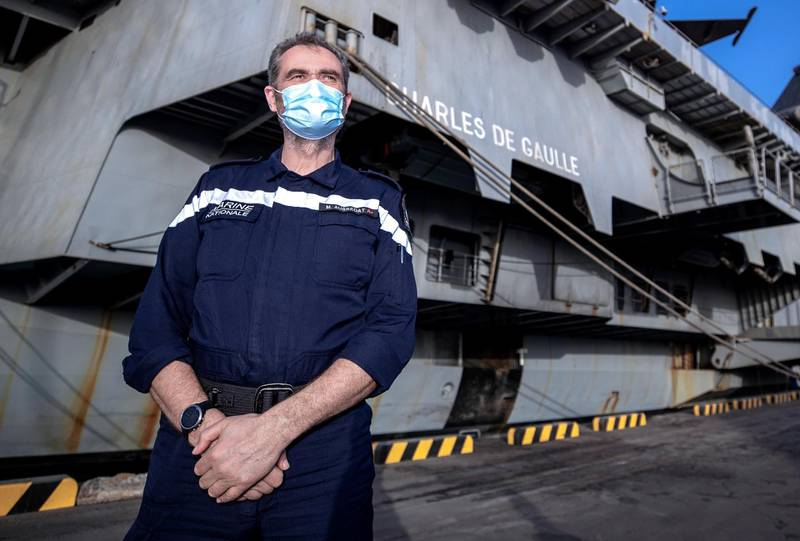 Abu Dhabi, United Arab Emirates, March 25, 2021.   Arrival of Charles de Gaulle aircraft carrier.  --  Rear Admiral Marc Aussedat commander of the Charles de Gaulle Strike Group and CTF 473.Victor Besa/The NationalSection:  NAReporter:  Ahmed Maher
