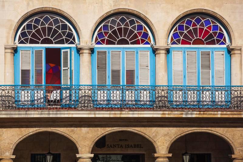 Cuba, Havana, Havana Vieje, Plaza Vieja, Colonial building details. Getty Images