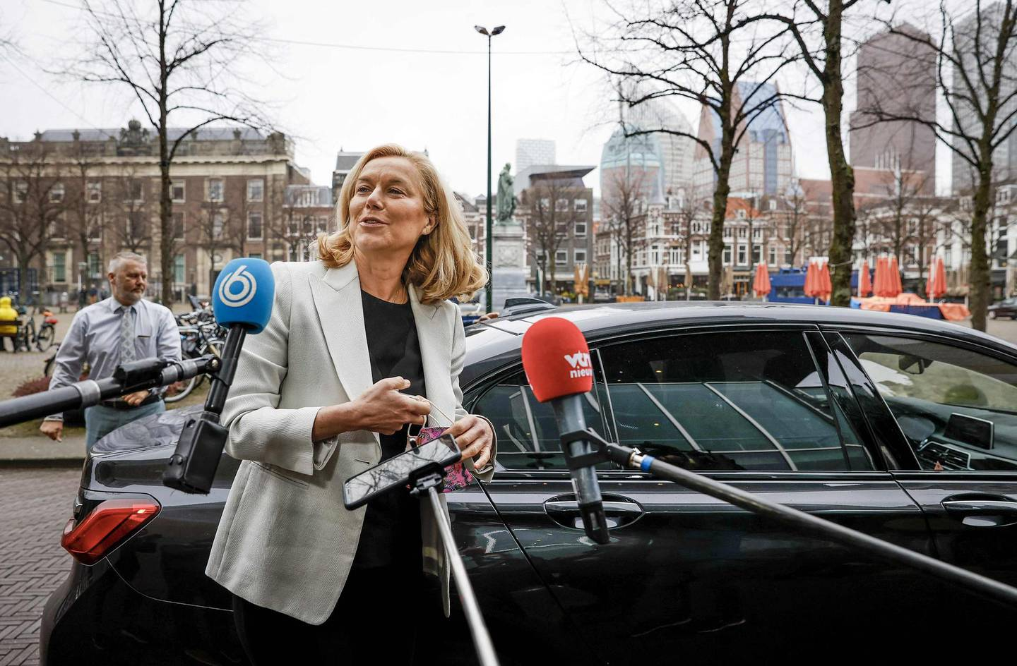 """Democrats 66 party leader Sigrid Kaag arrivs prior to a meeting of D66 in the Thorbeckezaal in The Hague, on March 18, 2021, the day after the parliamentary elections. Dutch Prime Minister Mark Rutte claimed an """"overwhelming"""" victory in elections on March 18, 2021, vowing to use his fourth term in office to rebuild the country after the coronavirus pandemic. - Netherlands OUT  / AFP / ANP / Sem van der Wal"""